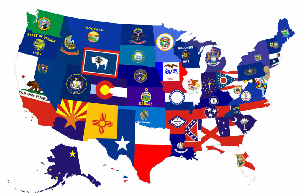 Map of US States using the state flag for each