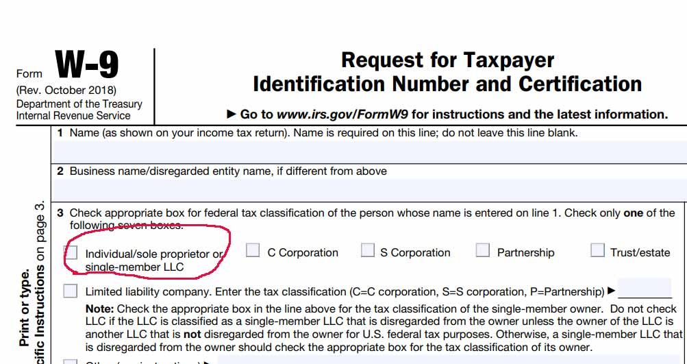 "W-9 form with circle around ""Individual/sole proprietor or single-member LLC"" checkbox."