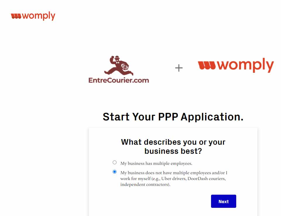 Womply welcome screen where they ask if you have multiple employees or if you're self employed (also with a pretty cool looking EntreCourier logo )