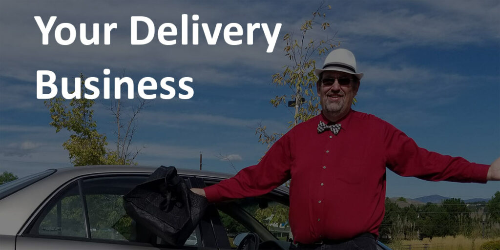 "EntreCourier by his car with Delivery bag with caption ""Your Delivery Business."""
