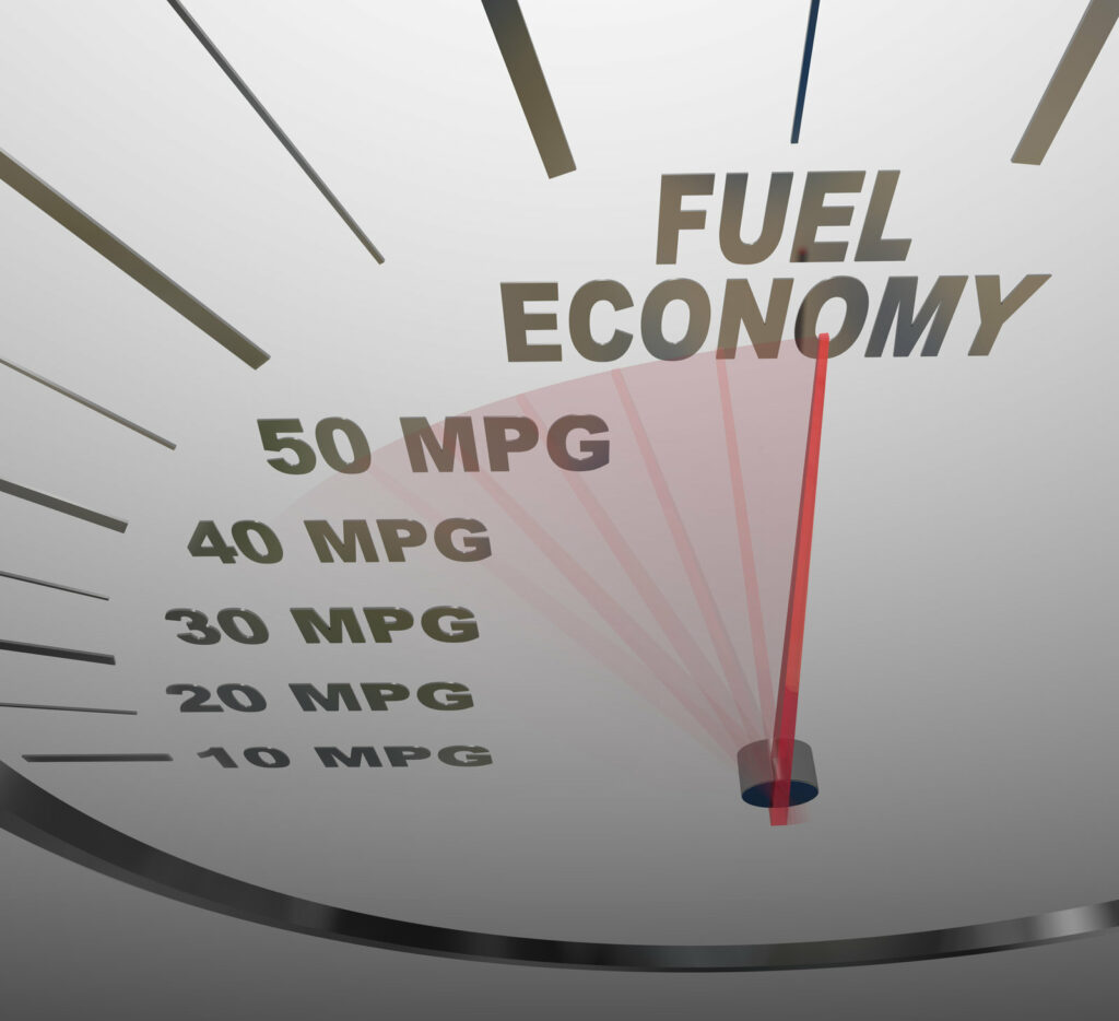 A delivery driver's dream fuel gauge showing MPG (miles per gallon) to identify the best fuel economy.