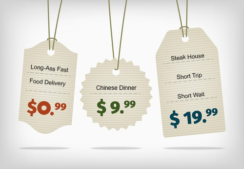 Image of delivery offers represented as price tags ranging from a low priced long delivery to a shorter more profitable steak house delivery.