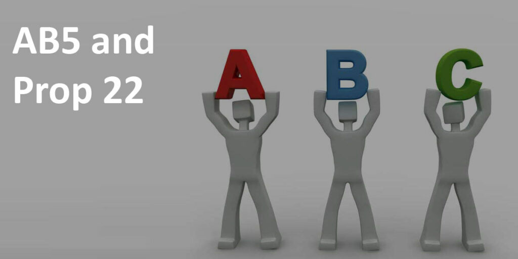 """""""AB5 and Prop 22"""" label next to image of three 3D characters holding up A B and C referring to ABC test."""