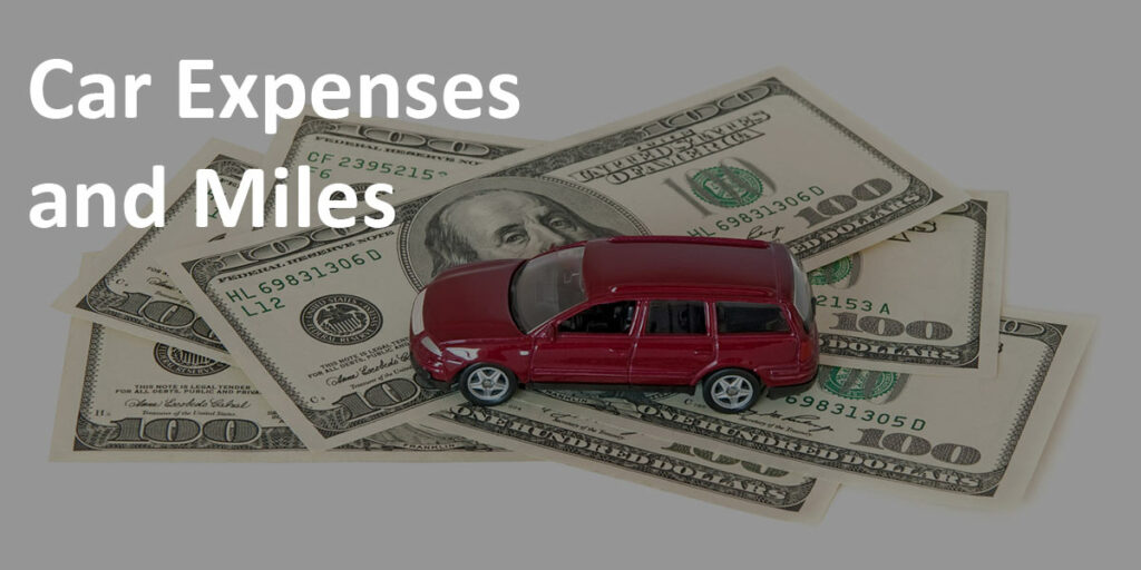 """""""Car Expenses and Miles"""" label over image of red toy car on top of a stack of $100 bills."""