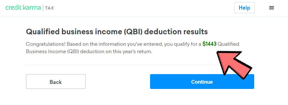 Screenshot of the confirmation screen after QBI is updated showing a QBI deduction of $1,443.