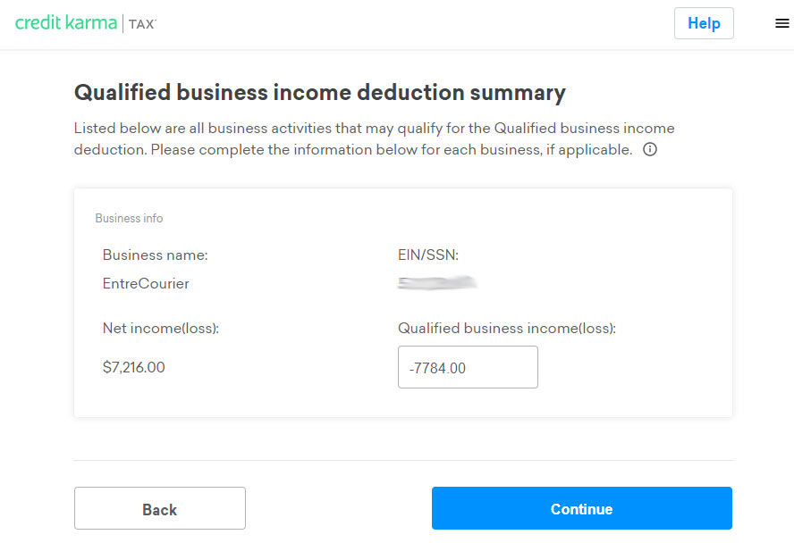 Screen shot of Qualified Business income deduction summary on Credit Karma's tax program showing an incorrect lower amount in the Qualified Business income compared to the Net Income.