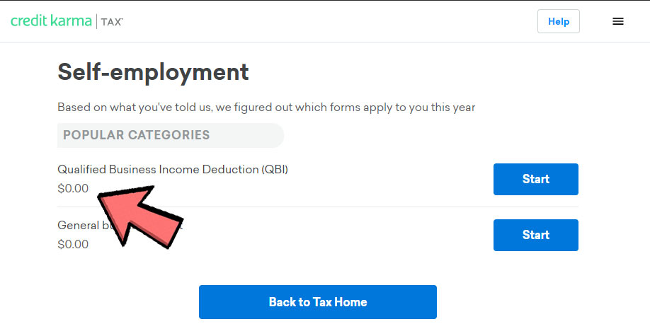 Screen shot of Self Employment deductions tab showing $0 Qualified Business Income Deduction