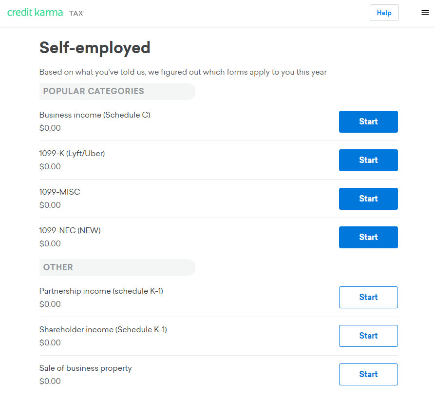 Screenshot of Credit Karma's free tax program self employment earnings form section