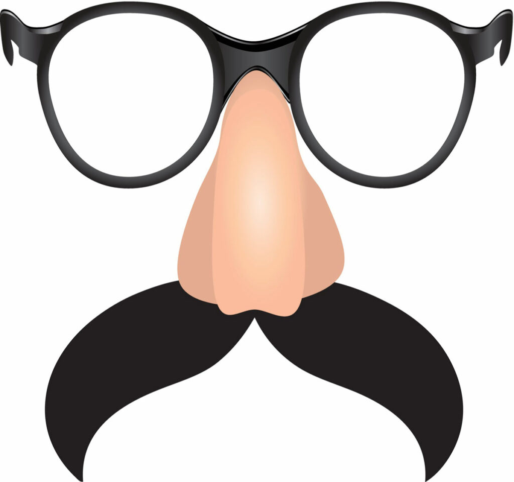 A disguise of a fake mustache, nose and glasses.