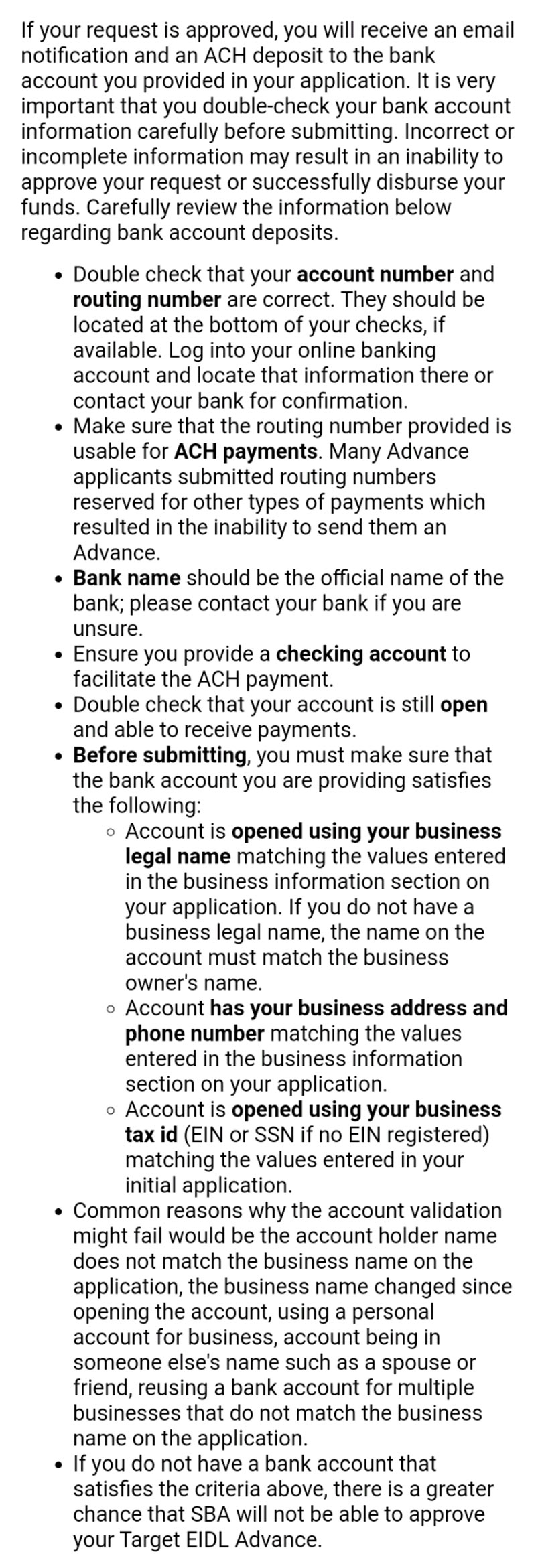Screenshot of section of the IRS email inviting application for the targeted EIDL advance with long detailed information about having the right bank account information.