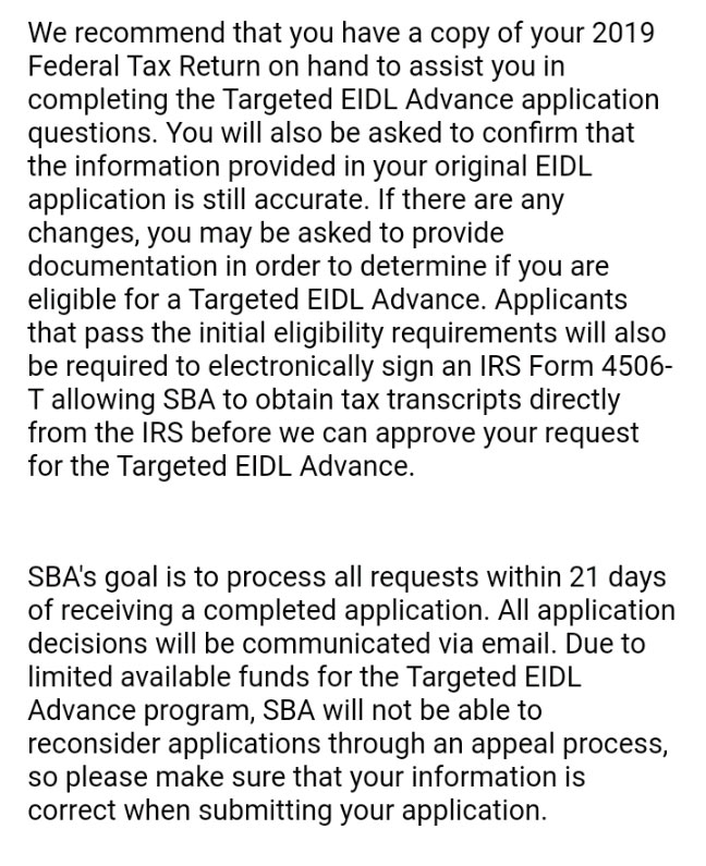 Screenshot of section of invitation email from SBA to apply for targeted EIDL advance describing some of the procedures.