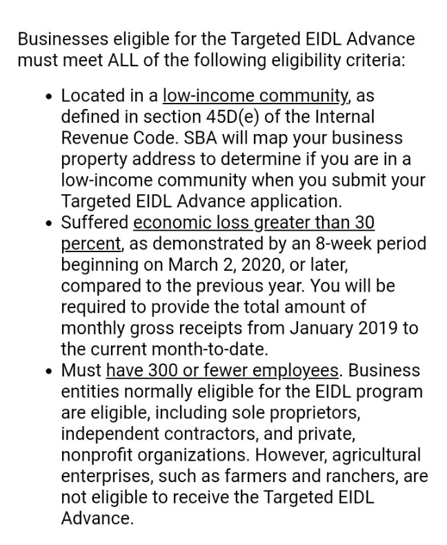 Screenshot of criteria for the Targeted EIDL Advance as it was laid out in the Small Business Administration's invitation to apply email.