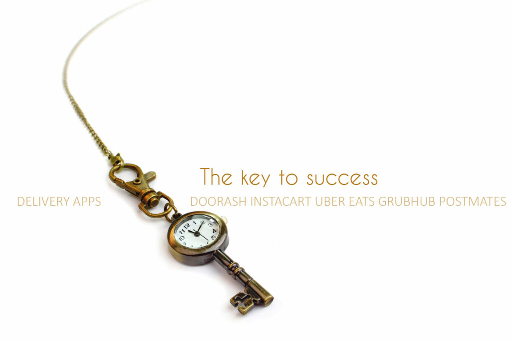 Text reading The key to success Delivery apps Doordash Instacart Uber Eats Grubhub Postmates. Chain and old fashioned clock on a bronze key.