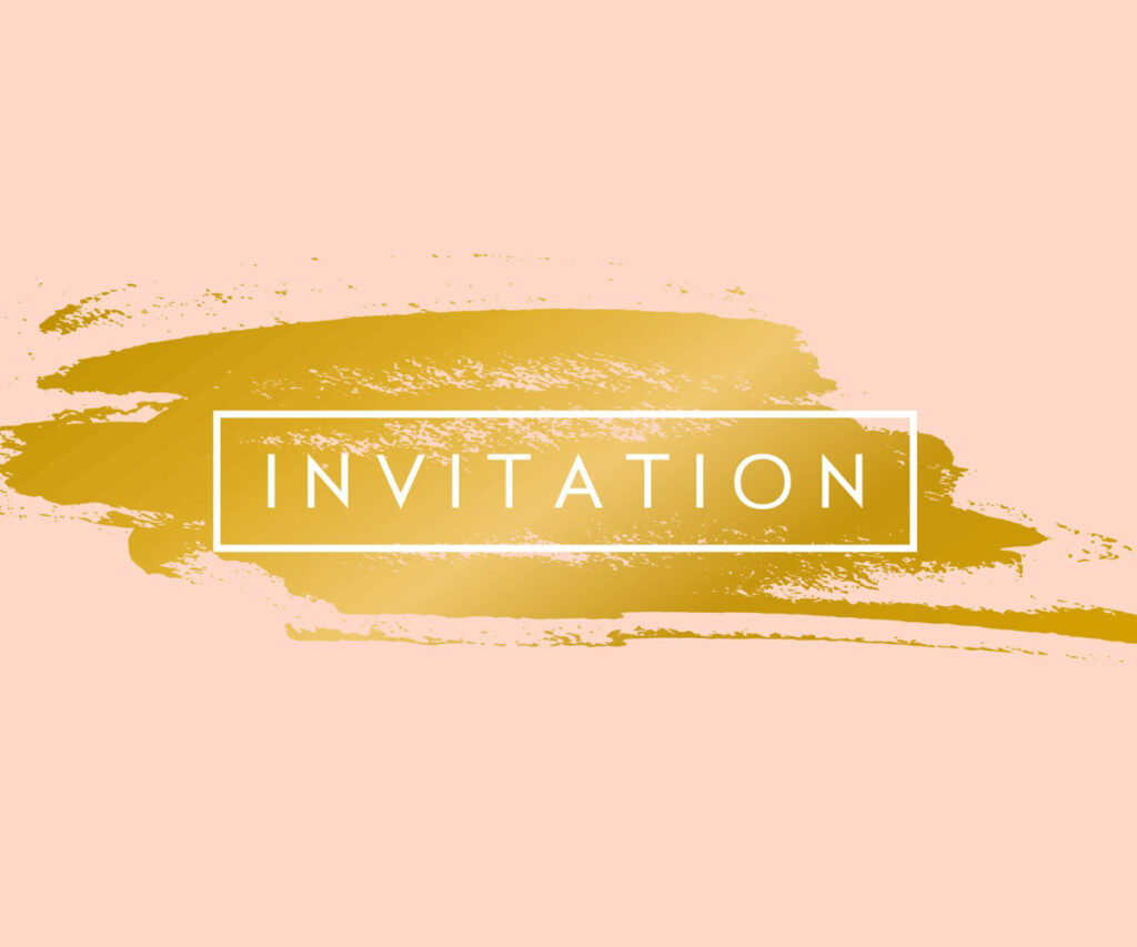 golden color pallette brushed onto pastel pink background, with modern looking box that says INVITATION.