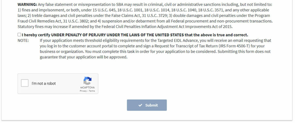 Screenshot of final page of the targeted EIDL Advance application.