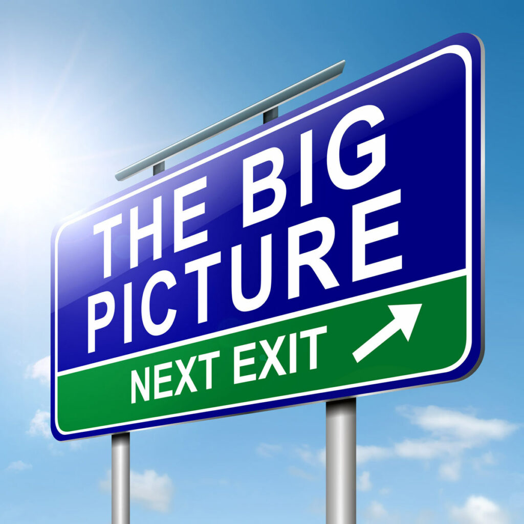 Road sign in blue with white background that says The Big Picture, lower part of sign is green with white letters and arrow that says Next Exit.
