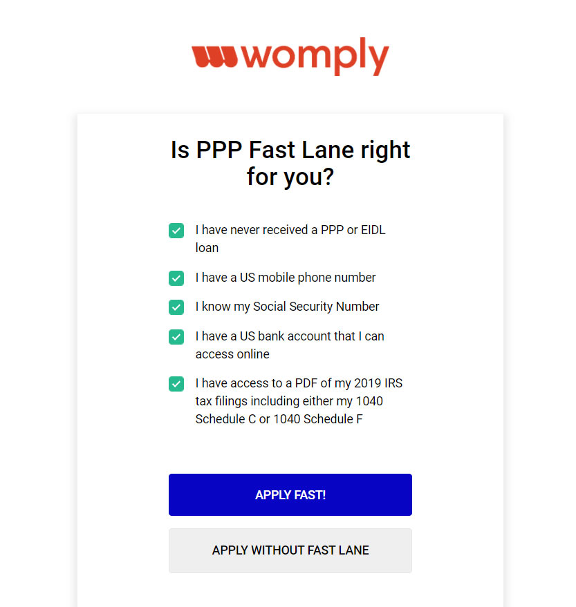 Womply application screen asking Is PPP Fast Lane right for you? Includes five check boxes and an option to apply fast or apply without Fast Lane.