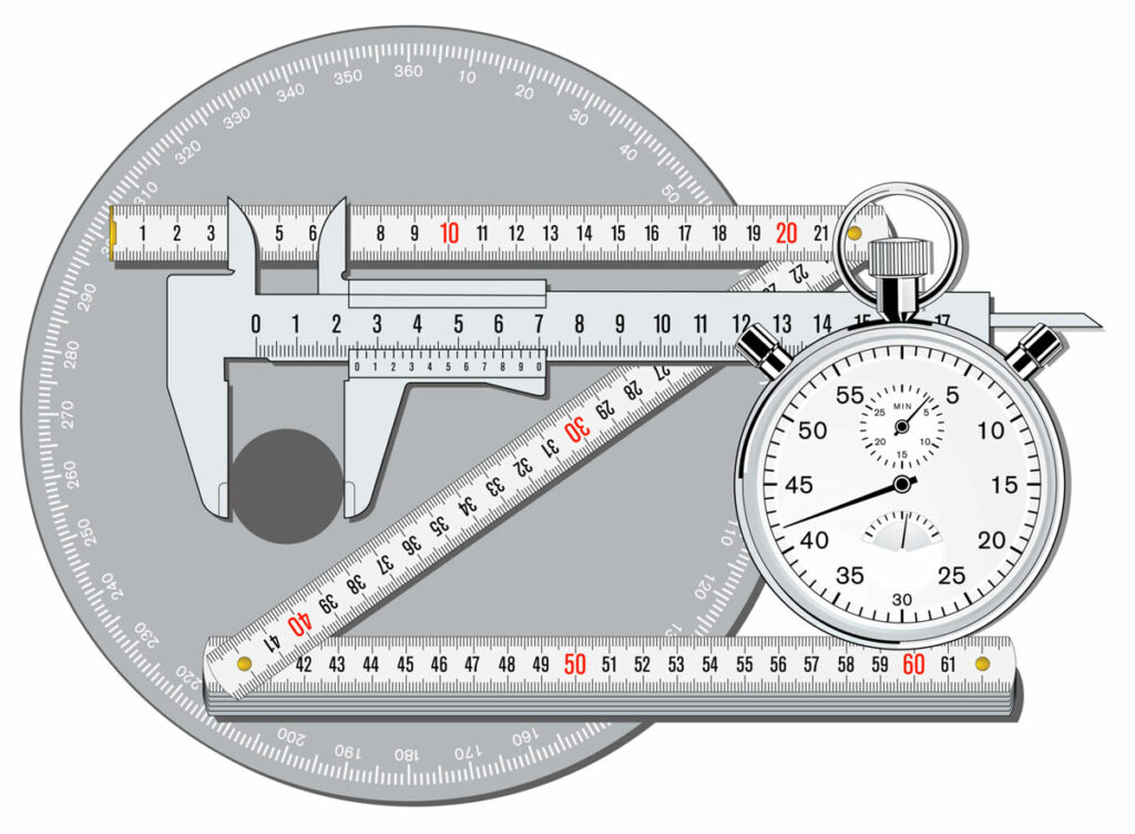 accuracy concept illustrated by a caliper, stop watch and other tools used for precision and measurement.