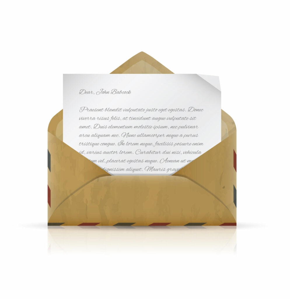 Vintage envelope with scripted writing on a piece of stationary depicting the concept of an open letter.
