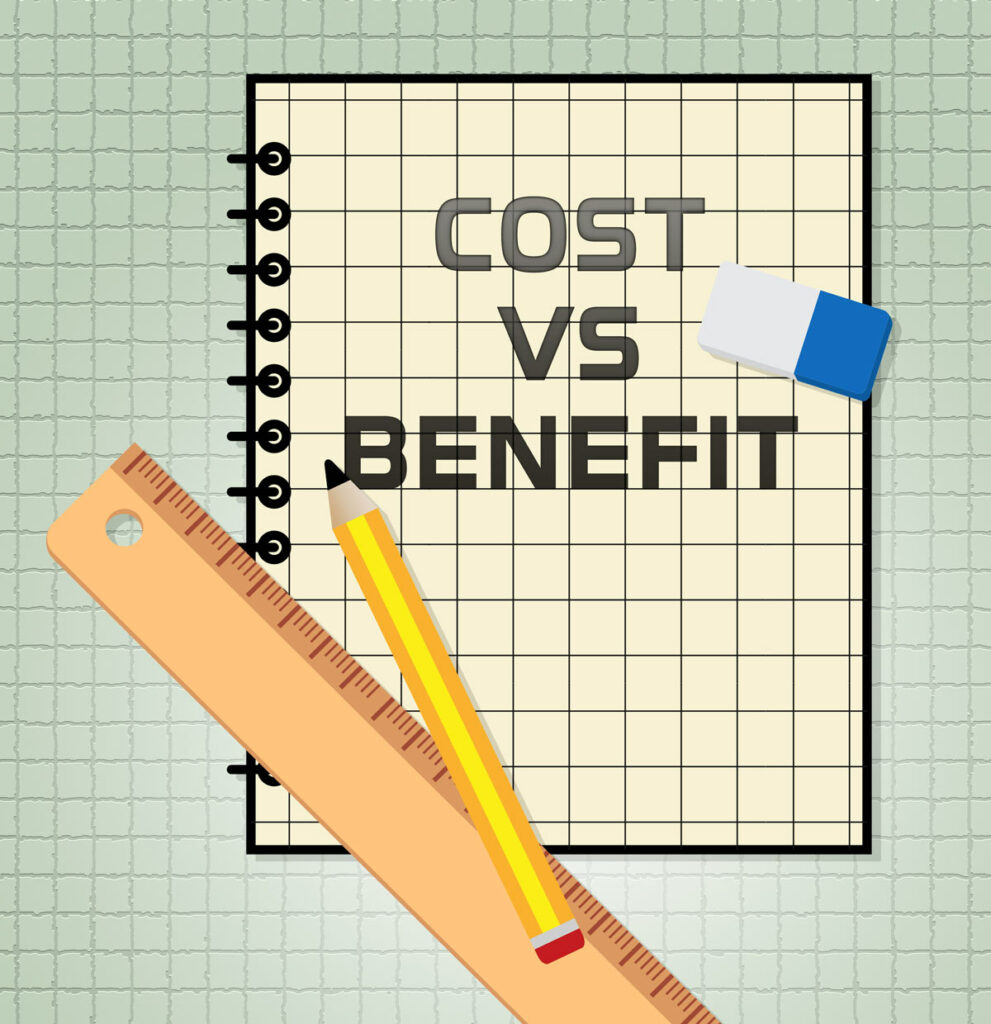 Illustration of pencil, ruler, and eraser on notebook that says Cost vs Benefit, over graph paper illustrating a business expense vs income concept.