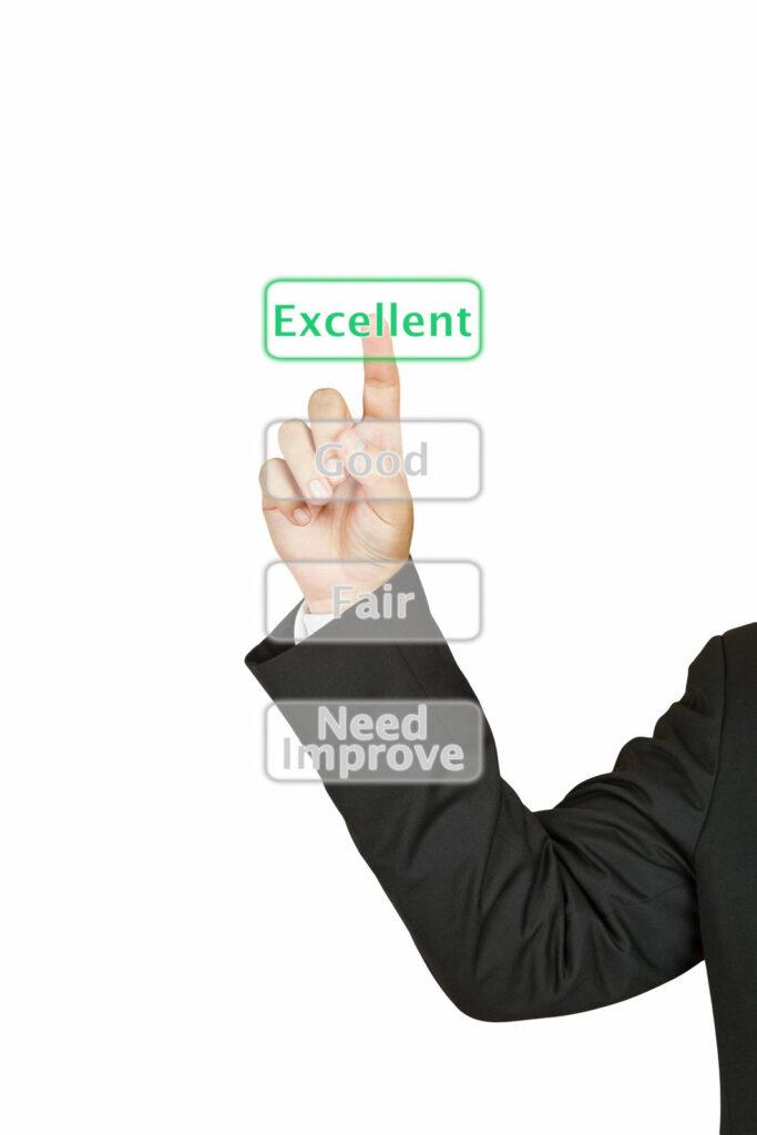A doordash customer choosing how to rate a Doordash, Uber Eats or Grubhub driver choosing between Need Improvement, Fair, Good and Excellent buttons.
