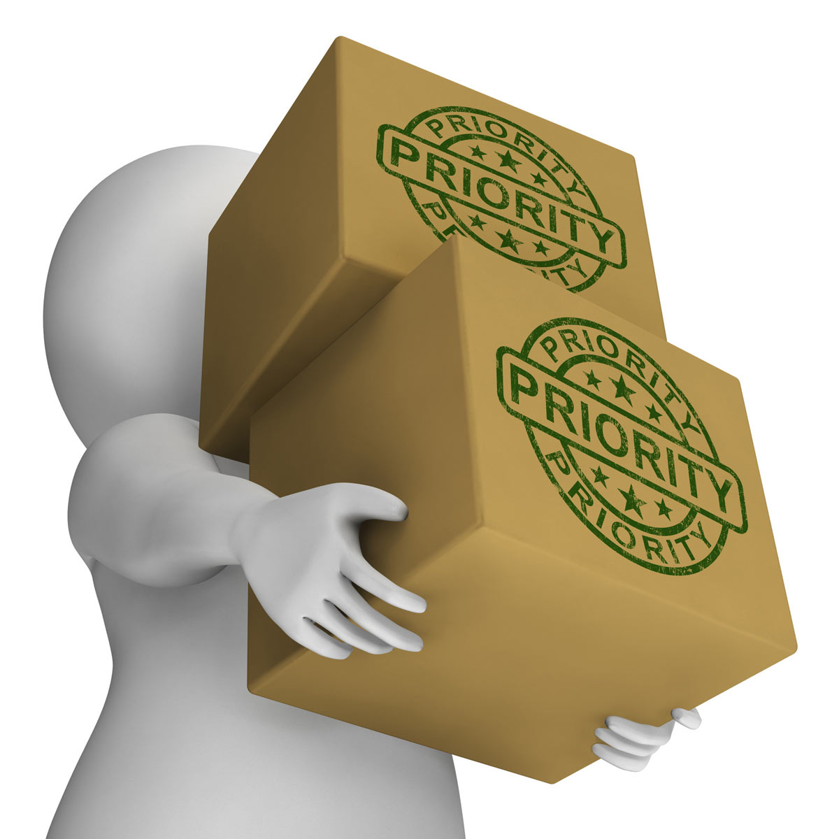 Figuring of a gig delivery worker holding boxes stamped Priority.