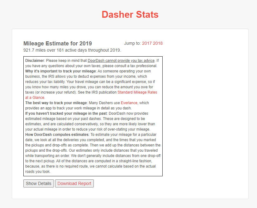 """Screenshot from the Doordash Mileage Stats page, with a heading """"Mileage Estimate for 2019"""" including section explaining  whether Doordash does track mileage, explaining instead  that it estimates instead of tracks."""