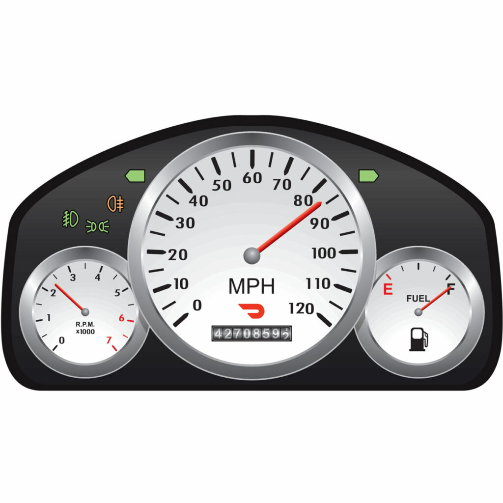 A car instrument panel with a Doordash logo with the odometer / mileage tracker showing 42708592 miles.