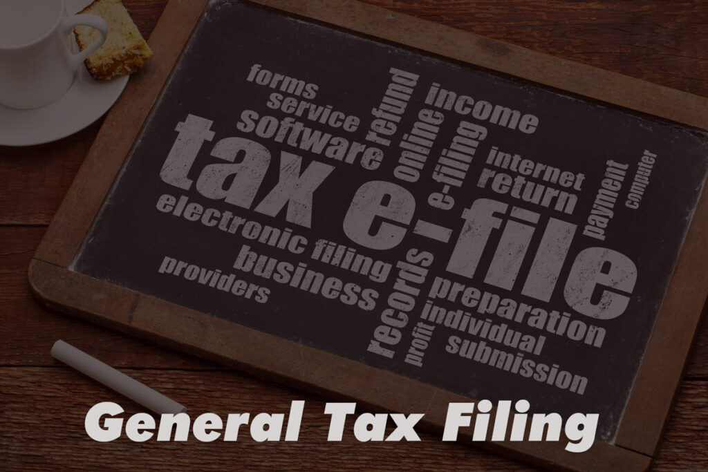 """tax-efile word cloud on a chalk board in background with picture label """"General Tax Filing."""""""