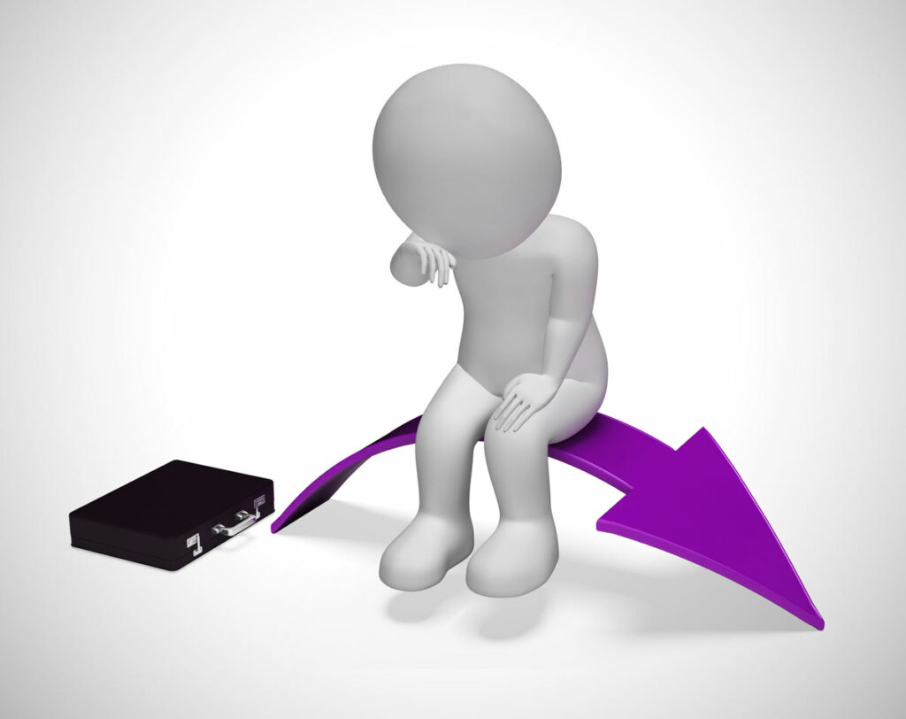 A 3D figurine near a briefcase, sitting dejected on a purple arrow that is trending downward like Grubhubs new pay model.