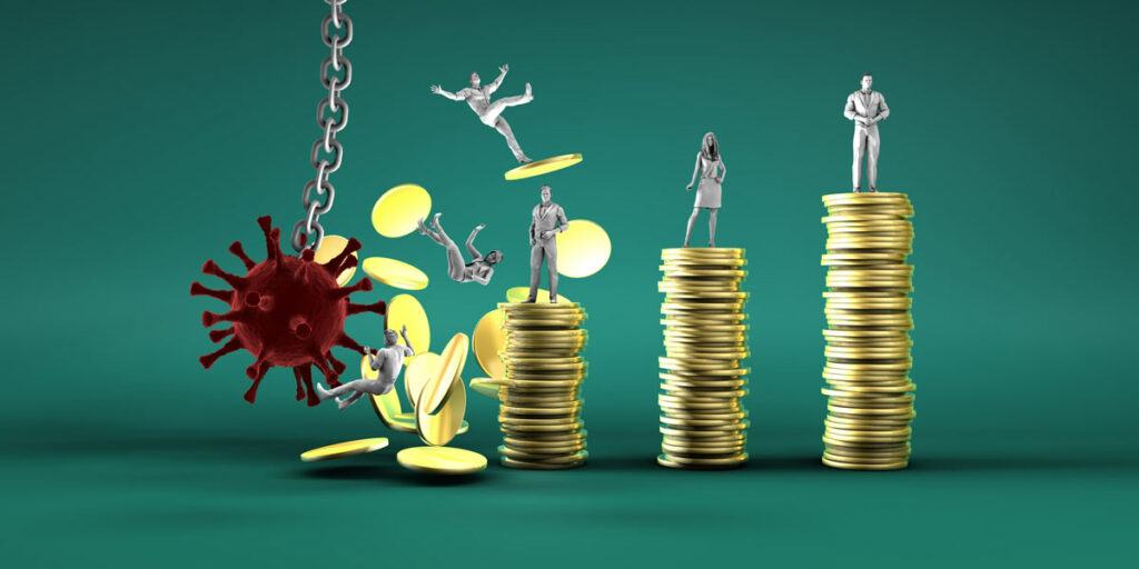 Impact of the coronavirus on the economy illustrated as a virus on a chain, like a wrecking ball, smashing into stacks of coins.