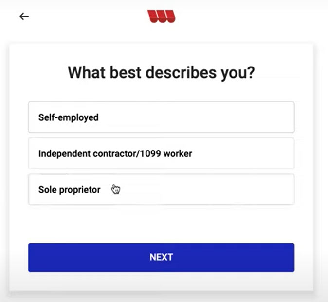 Question on the Womply Fast Lane PPP application asking if you are self-employed, independent contractor, or sole proprietor.