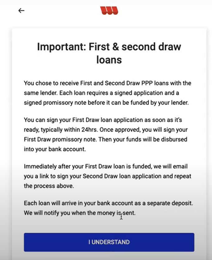 Screenshot of the description of the process of first and second draw loans as described by Womply in their Fast Lane PPP application.