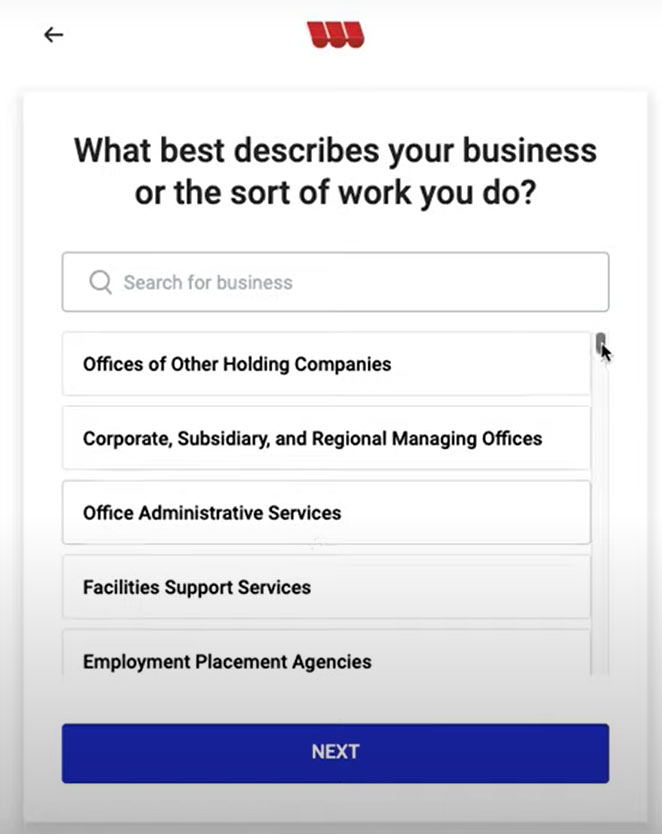 Screenshot from Womply PPP Fast Lane Application that asks What best describes your business or the sort of work you do?