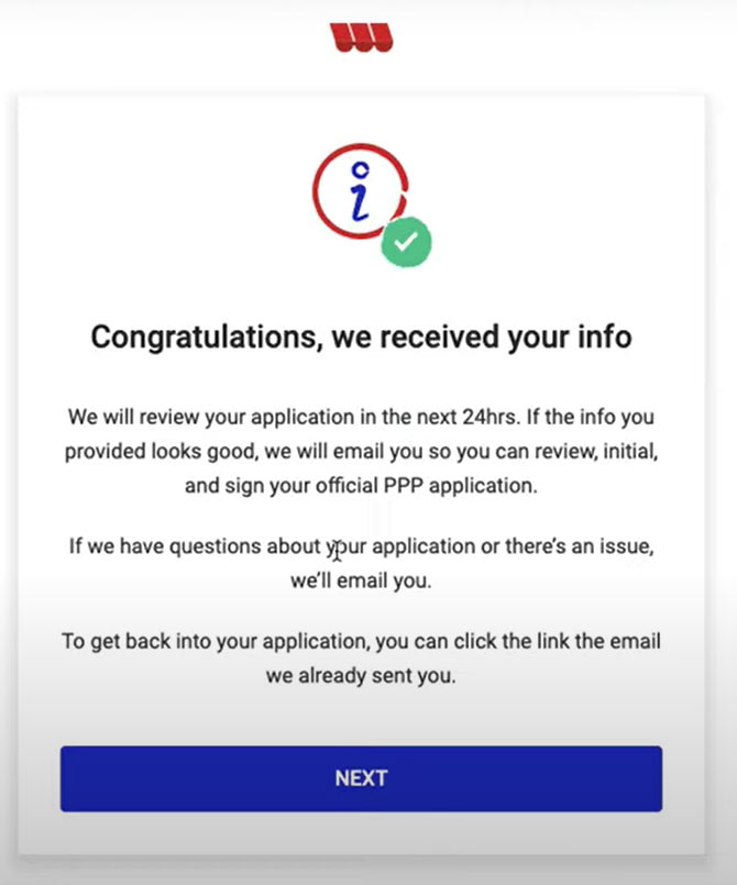 Confirmation screen from the Womply PPP Fast Lane application that identifies that information was received.