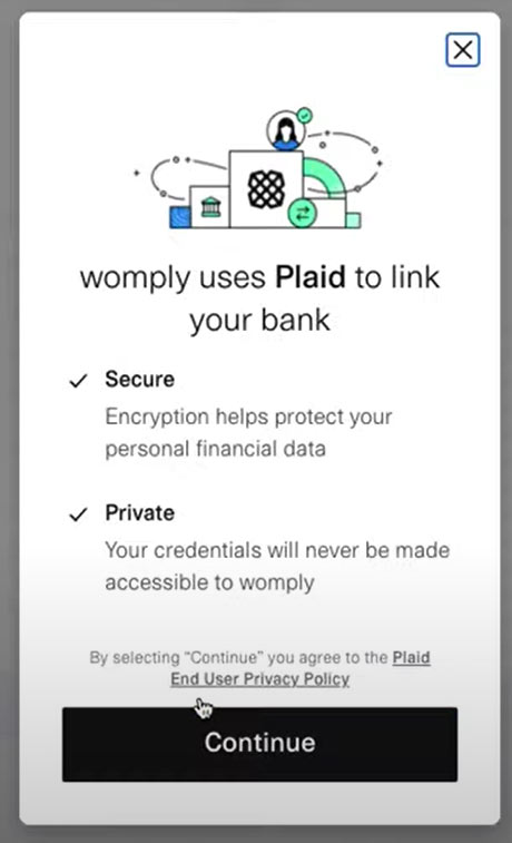 Womply Fast Lane application screen identifying Plaid as the way they link to your bank account.
