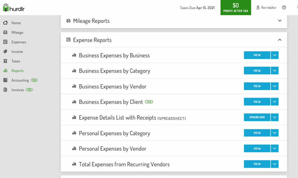 Screenshot from Hurdlr web app with a review of the different expense reports available through the program.