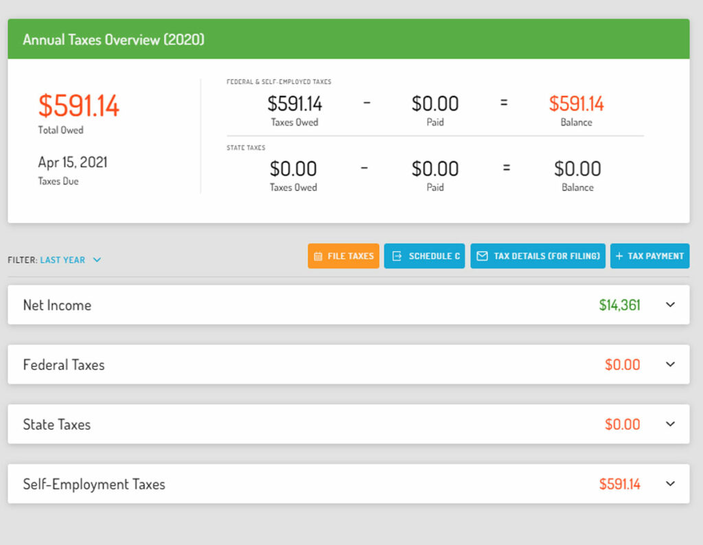 Screenshot of Hurdlr Premium and Hurdlr Pro tax screen showing estimated tax details and options for tax reports.