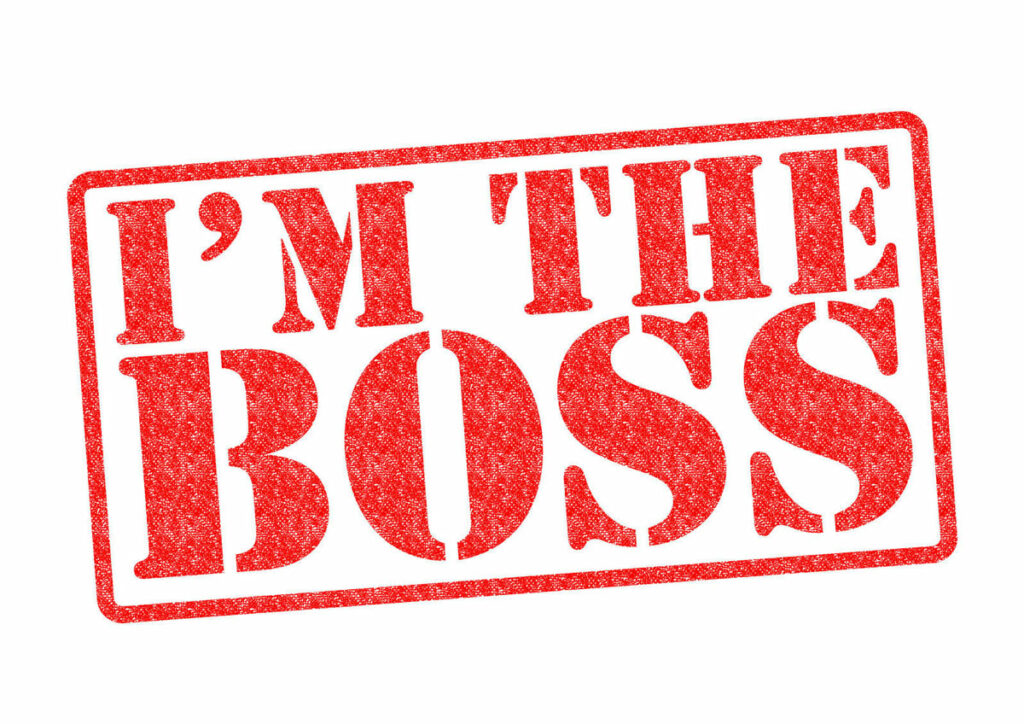 Rubber stamp concept in red ink saying I'm the Boss.