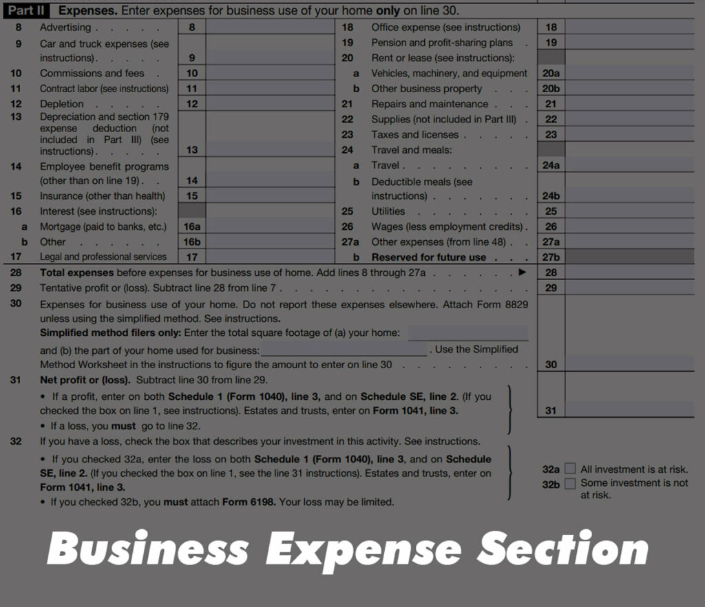 Business Expense Section of IRS Schedule C