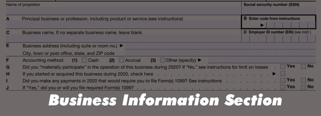 Business Information Section of IRS Schedule C