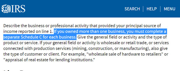 Screenshot from IRS Schedule C instructions highlighting the sentence: If you owned more than one business, you must complete a separate Schedule C for each business.