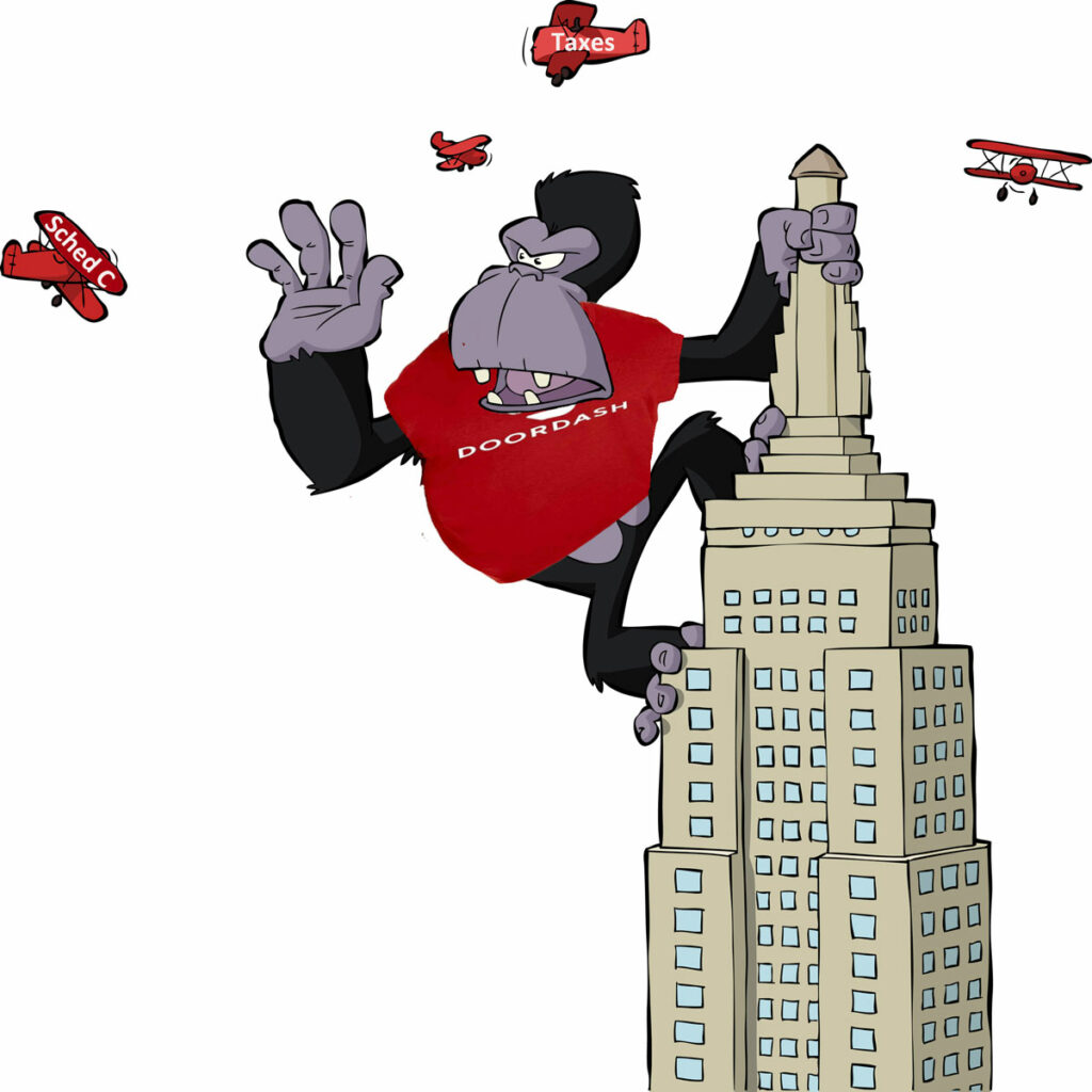 King Kong wearing a Doordash shirt swatting at airplanes labeled Taxes and Schedule C.