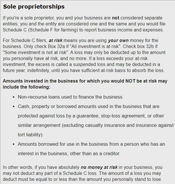 Screen shot of at risk definition for sole proprietors from Loopholelewy.com