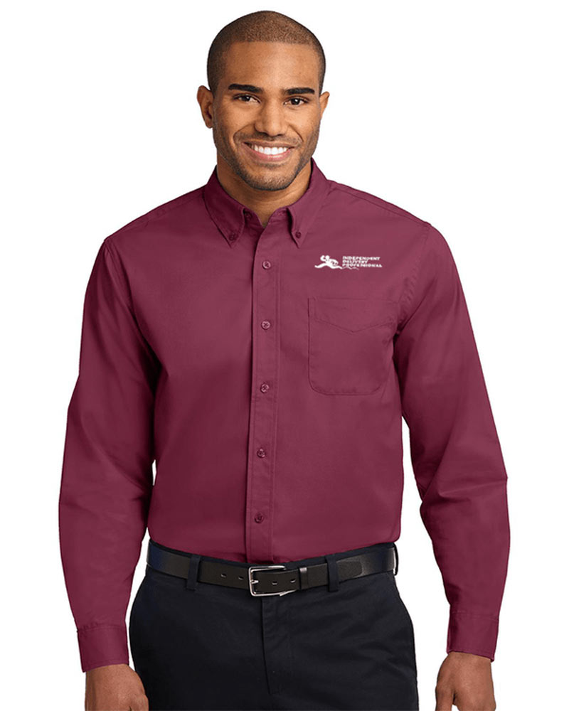 Model wearing maroon dress shirt with independent delivery professional logo.
