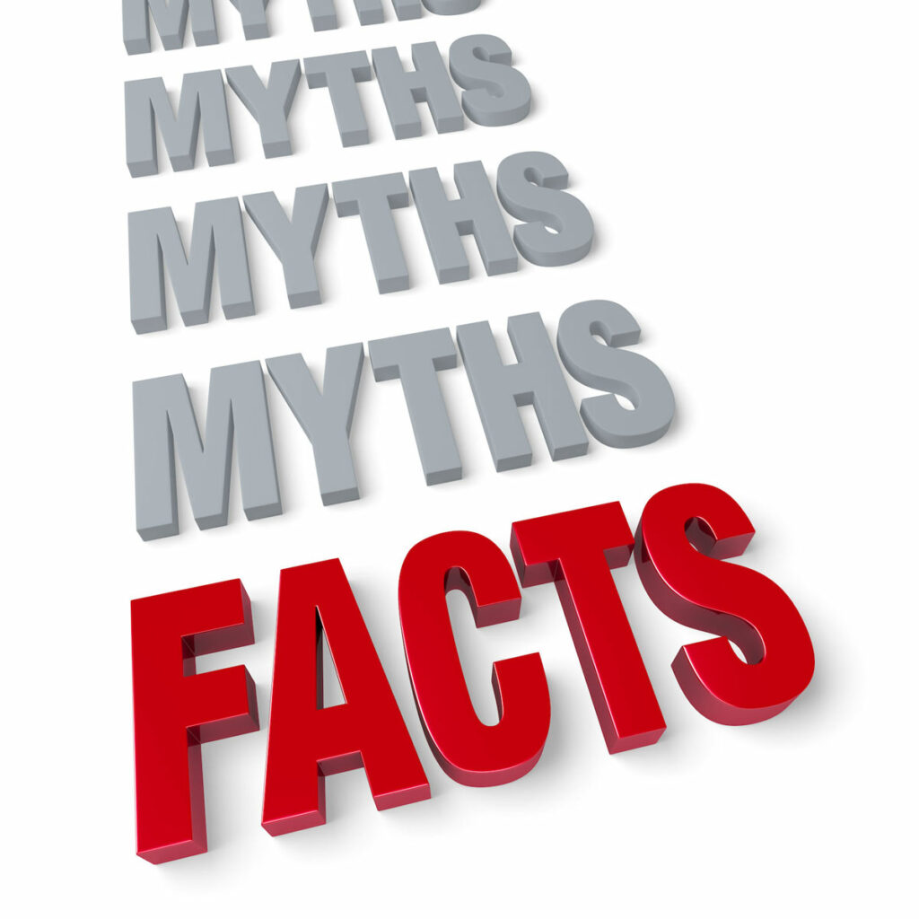 """Bold, bright red  block letters spelling """"FACTS' below a column of plain grey """"MYTHS."""""""