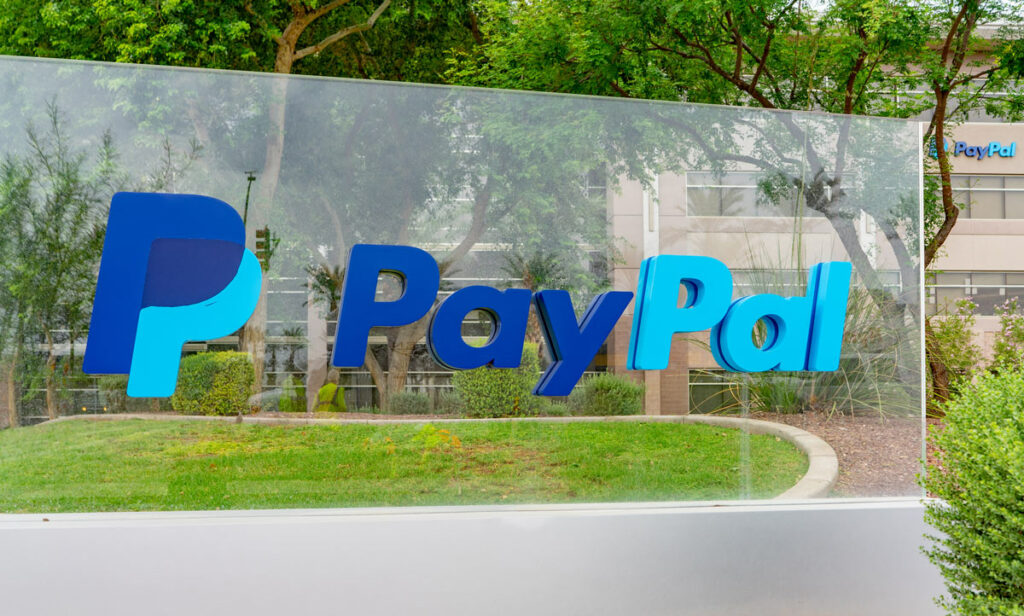 Paypal sign in front of the payment processor's Chandler Arizona operations center.
