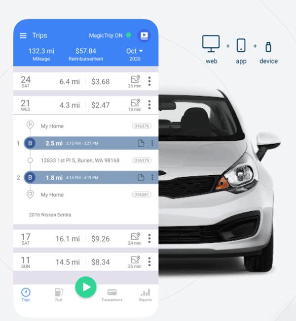 triplog mileage graphic of smartphone screenshot over image of a car, screenshot shows mileage log details, mileage, reimbursement and dates