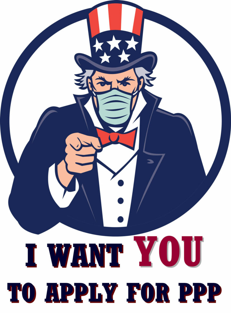 """Uncle Sam wearing a mask pointing with caption """"I want YOU to apply for PPP."""""""