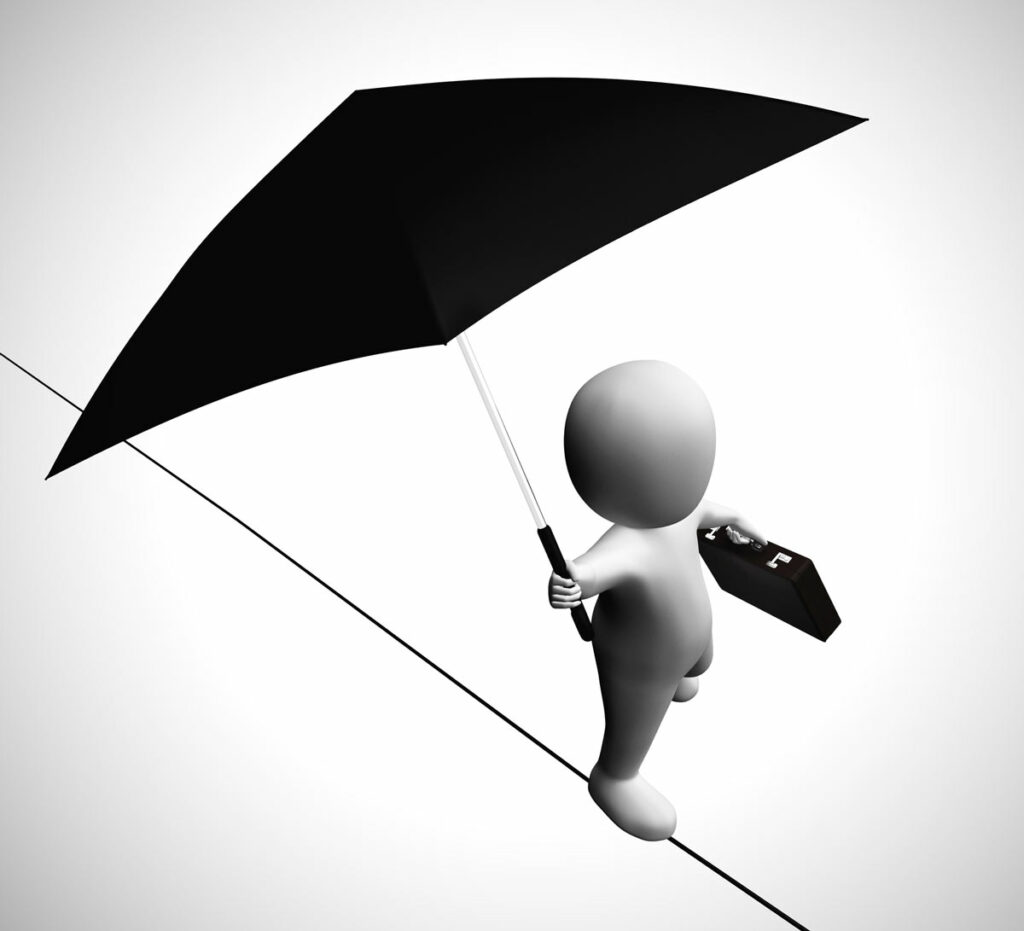 No safety net for independent contractors concept with 3D figuring holding briefcase and umbrella walking a tightrope.